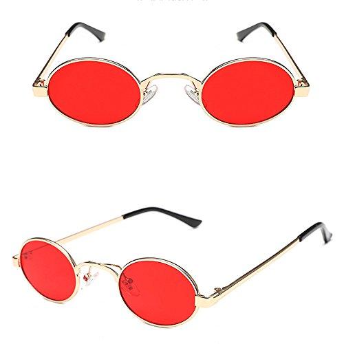 Douerye Korean Metal Sunglasses, Elliptische Sonnenbrille Ultra Small Frame Marine Sonnenbrillen, Männer Und Frauen Persönliche Brillen,Red