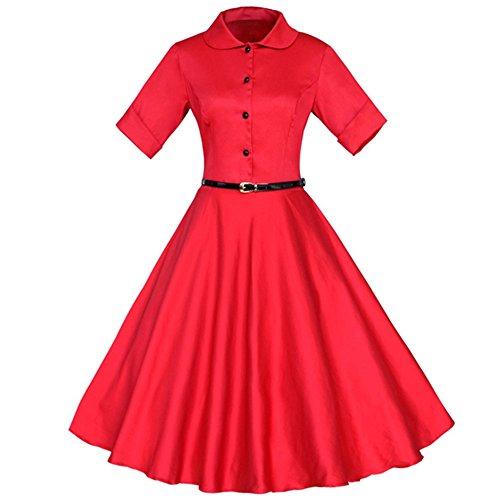 Dissa M1205 femme Vintage pin-up 50's 60's Robe de Soiré,Bal cocktail Rockabilly Swing Rouge