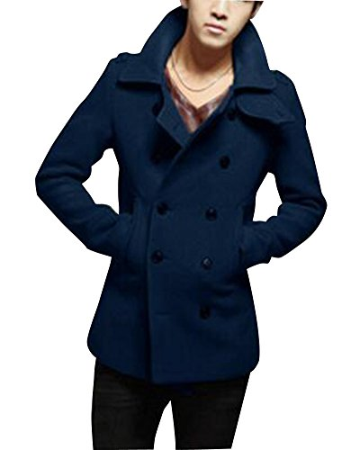 Uomo collection cappotto doppio-petto lungo cappotto di lana misto maniche-lunghe outerwear navy m