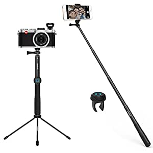 Inateck Kamera Stativ Multifunktionaler Aluminium Selfie-Stick, drahtlos Tischstativ Ständer/ Bluetooth-Fernbedienung für iPhone 8/8Plus/X, iPhone 7/ 7Plus, Galaxy, Nexus, GoPro, kameras . TS1001