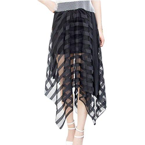 QIYUN.Z Summer Fashion Doppelte Schicht-Frauen Mesh-See-Through Aushoehlen Lange Roecke Schwarz diagonalen Streifen