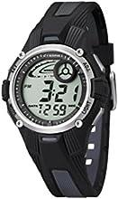 Calypso 5558/6 - Reloj para niños de cuarzo, correa de goma color negro (con luz, cronómetro, cuenta atrás, alarma)
