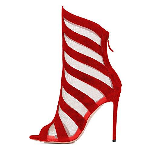 Damen Peep Toe Fellsamt Sandalen High-Heels Stiletto Reißverschluss Breathable Mesh Schuhe Rot