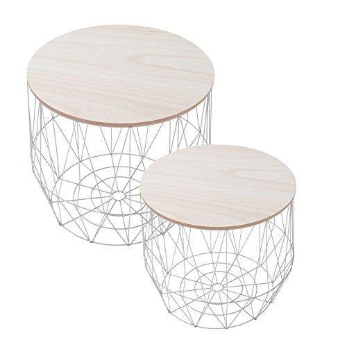 2er set Moderner Couchtisch Beistelltisch STORAGE grau Aufbewahrungsfach mit Eiche Ablage Aufbewahrungskorb mit Holzdeckel Deckel Korb Aufbewahrung Tische