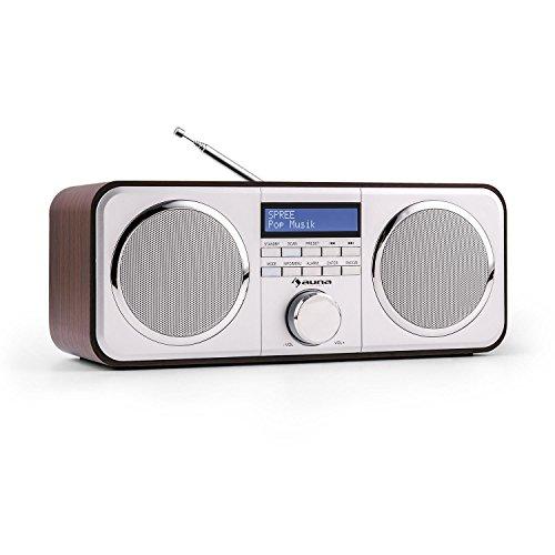 auna • Georgia • Digitalradio • DAB+ / UKW-Radiotuner • LCD-Display mit Dimmfunktion • Datum- und Uhrzeit-Anzeige via DAB-Daten • RDS • Wecker mit Snooze und Sleep-Timer • AUX-Eingang • dunkelbraun