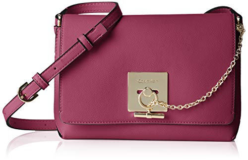 Calvin Klein Damen Ck Lock Med Flap Crossbody Umhängetasche, Violett (Magenta), 7.5x13x21 cm
