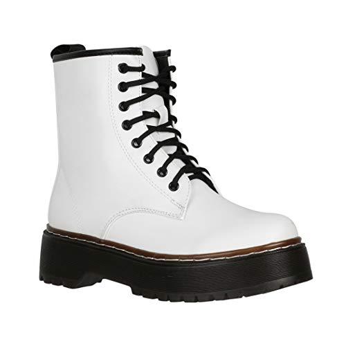 Elara Damen Stiefelette Worker Boots Chunkyrayan HL02 White-40