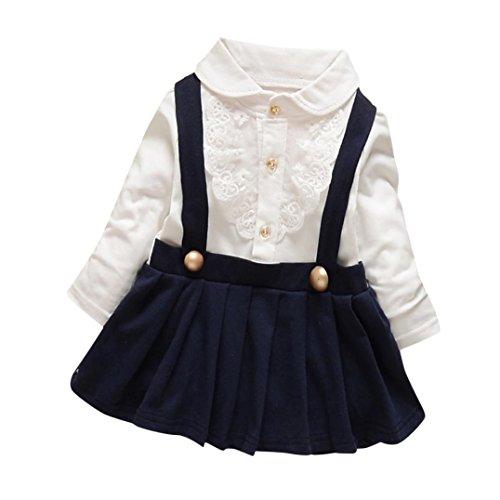 Longra Baby Mädchen Herbst Kleidung mit Lace Langarm T-Shirt Prinzessin Mädchen Kleid Hochzeit Festkleid Partykleider(0-18Monate) (70CM 6Monate, Navy) (Baby-mädchen-shirt-labels)