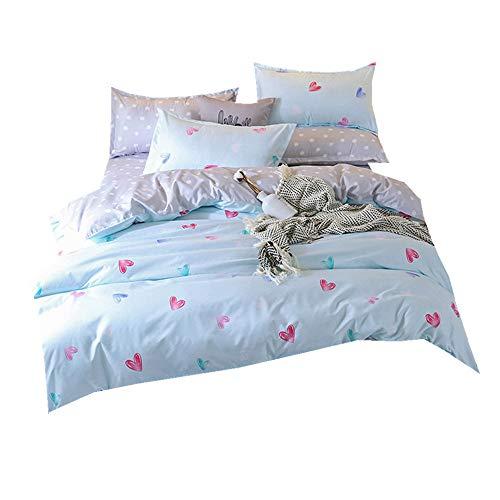Bettwäsche Cover Set 3 Stück Flamingo Welpe Animal Print Bettbezug Set mit Bettwäsche Blatt (Herz Blau, 150 x 200cm 3 Stück) Animal Print Sticker