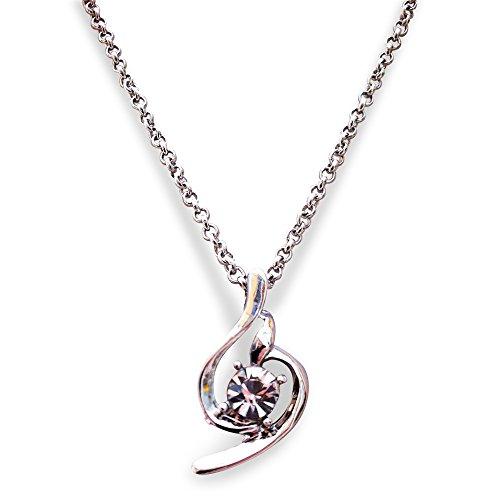 Collana CZ zirconi bianco dolce angelo pendente placcato platino. Confezione regalo