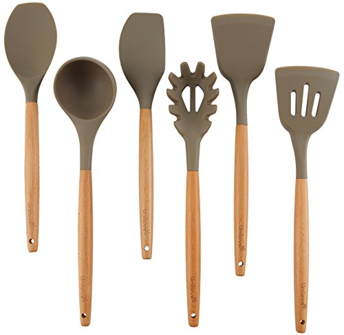 Uni-love Home Kitchen Utensils Set 6 Piece Silicone Utensil Wood Cooking Utensils for Nonstick Cookware - Spatula, Soup Ladle, Turner, Slotted Turner, Spoon Spatula, Spaghetti Server