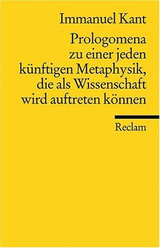 Reclam, Philipp, jun. GmbH, Verlag Prolegomena zu einer jeden künftigen Metaphysik
