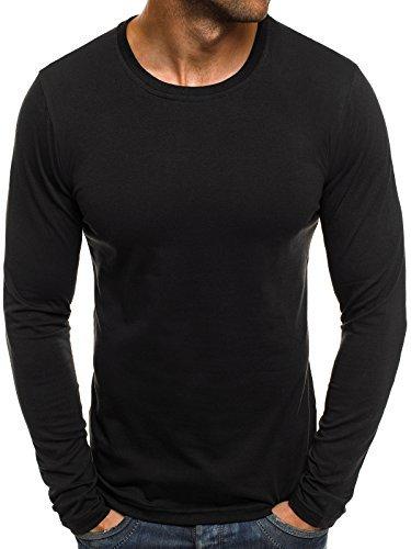 OZONEE Herren Longsleeve Langarmshirt Sweatshirt Motiv Basic J.Style 2088 XXL Schwarz (Größentabelle Xxl)