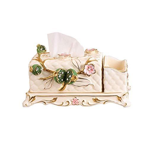 ZHAS Multifunktionale Elfenbein vergoldete Keramik Tissue Box Cover Hand geknetet Blumen Antik Serviettenhalter Schreibtisch Veranstalter für Heim und Büro Dekoration (Keramik Tissue Box Cover)