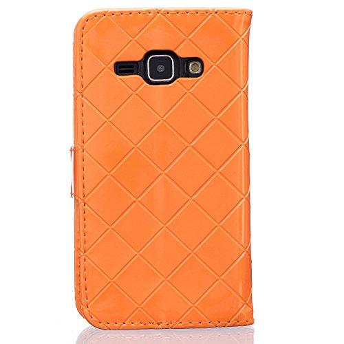 Samsung Galaxy J1 J5 Case,mode, Gitterförmige Muster Glatte Oberfläche Design Folio Pu Ledergeldbeutel Fall Decken Mit Stehen / Card Slot Für Samsung Galaxy - J5 ( Color : Rose , Size : Samsung J1 ) Orange