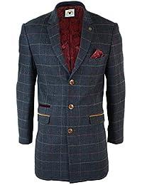 marc darcy Mens 3/4 Long Crombie Overcoat Jacket Coat Tweed Check Herringbone Peaky Blinders