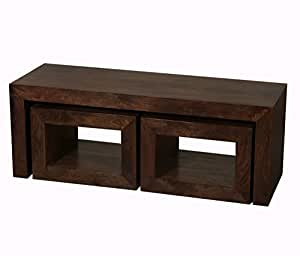 Homescapes Dakota Long John Coffee Table with 2 Cubes Dark 100% Solid Mango Hardwood Living Room Furniture