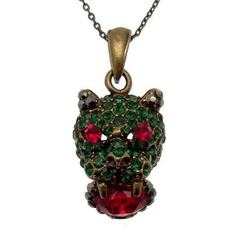 Acosta-emerald green red & cristalli swarovski, misura piccola, motivo leopardato, con collana, a forma di gatto, stile vintage, gioielli