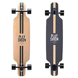 PLAYSHION Longboard 39 Zoll, mit ABEC-11 Kugellagern, Drop-Through Freeride Skateboards Cruiser (Line)