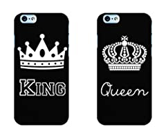 Idea Regalo - Coppia Cover fidanzati Love King Queen Rigida per iPhone 6 6S 7 Regalo Natale San Valentino FIDANZATI
