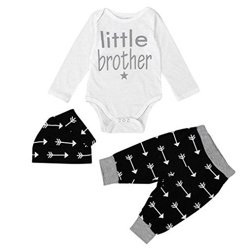 Bekleidung Longra Neugeborenen Säugling Baby Jungen Tops Strampler + Leggings Hose Hut Outfits Kleiderset Babykleidung (0 -24 Monate) (70CM 6Monate)