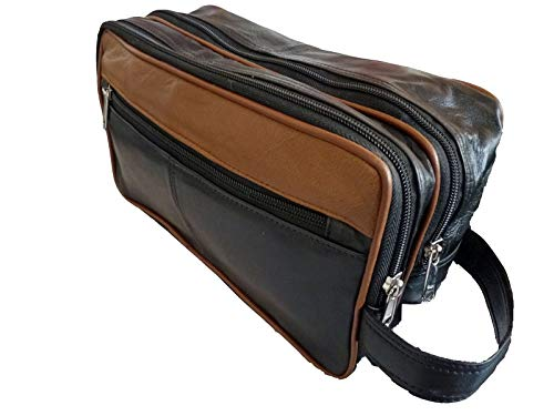 Pelle 2 Tone toilette Wash Bag per articoli da toeletta - Holiday Travel Bag Wash - Adatto come Uomo o Donna - 3 cerniera Sezioni - RL155