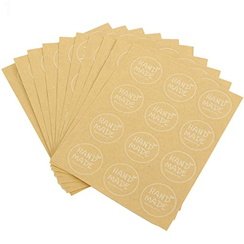 Bodhi2000® Handmade Stickers Paper Sticker Labels for Soap, Baking, DIY Gift Packaging (10 Sheets x 12 PCS)