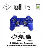 Manette de Jeu sans Fil 2,4 G - Contrôleur de Jeu PS3 - Télécommande Dualshock Cadeau pour Enfants, Fils, père en Famille - pour PC, téléphone Android/TV Box/Smart TV/PS3 Bleu