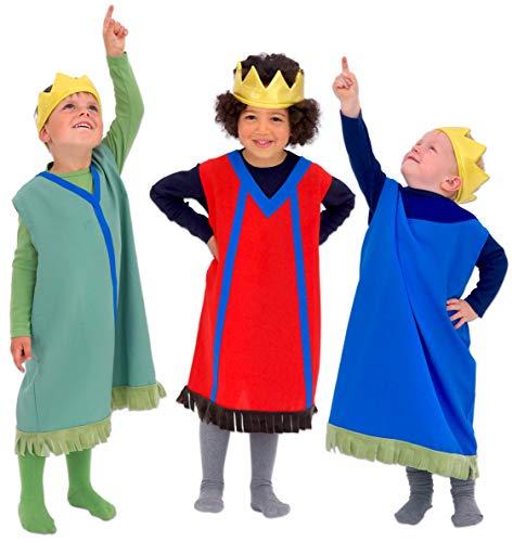 Betzold 58515 - Könige, 3er-Set - Kinder-Kostüm für Krippenspiel und Rollenspiel, - Kinder Krippe König Kostüm