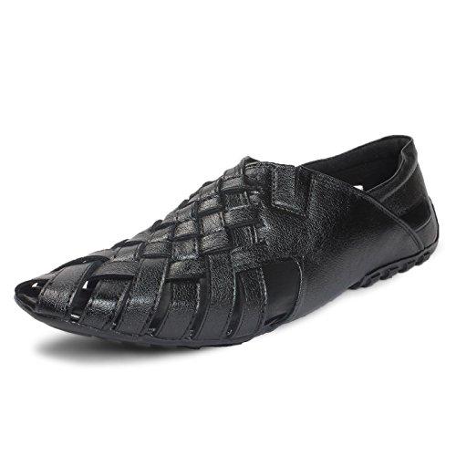 BACCA-BUCCI-MEN-Black-Leather-SANDALS