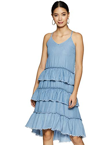 ONLY Damen onlLUELLA RAW EDG Frill DNM DRES QYT Kleid, Blau Light Blue Denim, 36