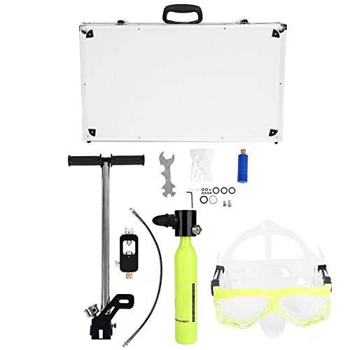 Cilindro de Oxígeno Equipo de Buceo Portátil con Adaptador de Recarga de Tanque de Buceo con Bomba de Aire de Alta Presión Gafas de Buceo de Silicona Entrenamiento de Respiración