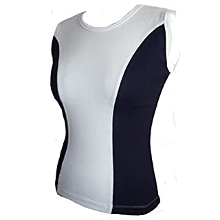 Navy Dark Blue & White Soft Cotton Sleeveless Vest Top Size Two Tone Gym 16/18