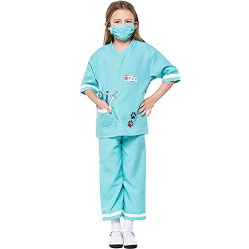 FDHNDER Child Cosplay Kleid Verrücktes Kleid Partei Kostüm Outfit Tierarzt Kostüme, Kinderärzte, professionelle Erfahrung Spiel Anzüge, 3-5 Jahre alt