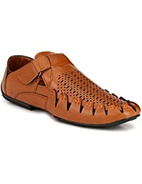 Imcolus Synthetic Leather Partywear Casual Designer Layasa Sandals For Men And Boys Tan Color