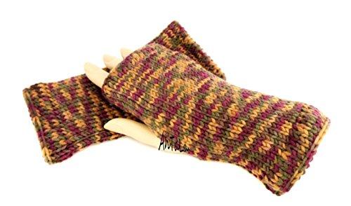 Handstulpen braun Mix - Wollstulpen - Hand gestrickt - warm und weich