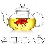 Teekanne Glas Teebereiter 400 ml mit abnehmbare Sieb XAGOO Teebereiter mit abnehmbarem Infuser und Deckel