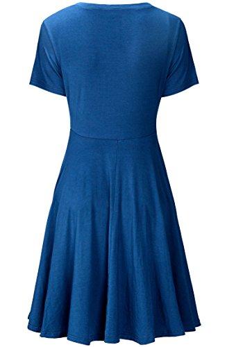 KorMei Damen Kurzarm Rundhals Stretch Skaterkleid Sommerkleid Fattern Basic A-Line Kleider Blau