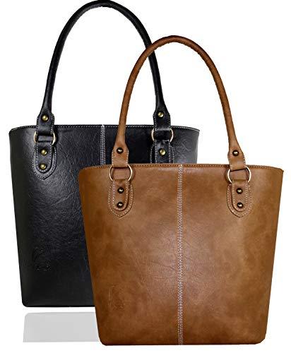 Fargo Fine Line PU Leather Women\'s Handbag Combo Of 2 (Black,Beige_FGO-104)
