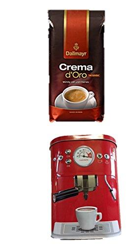 Dallmayr Crema d'oro Intensa in Bohne, 1er Pack (1 x 1000g Beutel) + Kaffeedose neu 3 D Design rot