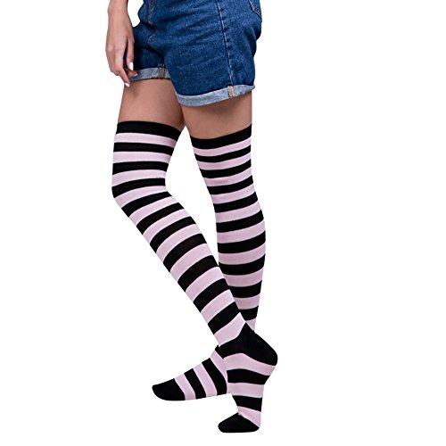 Goosuny 1 Paar Damen Kniestrümpfe Frauen Sexy Streifen Overknee Socken Regenbogen Farbe Lange Strümpfe Mädchen Cheerleader Sportsocken ()
