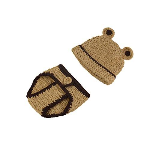 ENCOCO Fotorequisiten für Neugeborene, niedliche braune Maus, Hut, Hose für Jungen und - Braune Mäuse Kostüm