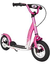 bike*star 25.4cm (10 Zoll) Kinder-Roller - Farbe Pink & Weiß