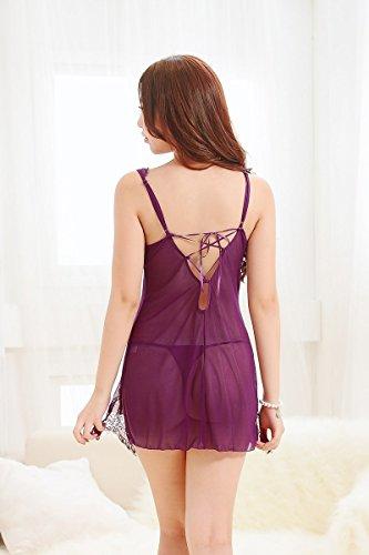 lpkone-Lingerie sexy en dentelle Dentelle de style bandage transparence chemise chemise avec home service Free t Taille pantalon, violet Purple