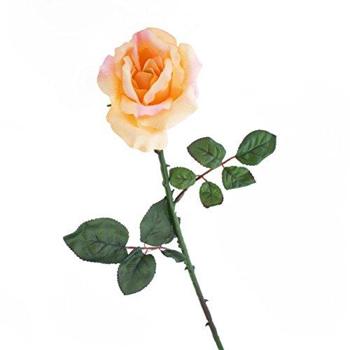 artplants Künstliche Rose Amy, Creme-orange, 65cm, Ø 10cm – Kunstrose/Kunstblume
