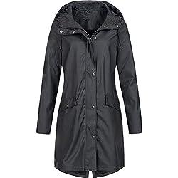 WanYangg Regenmantel Damen Outdoorjacke Wasserdicht Lang Regenjacke mit Kapuze Funktionsjacke Regenjacke Winddicht Atmungsaktiv Kapuzen Trenchcoats 5# schwarz 4XL