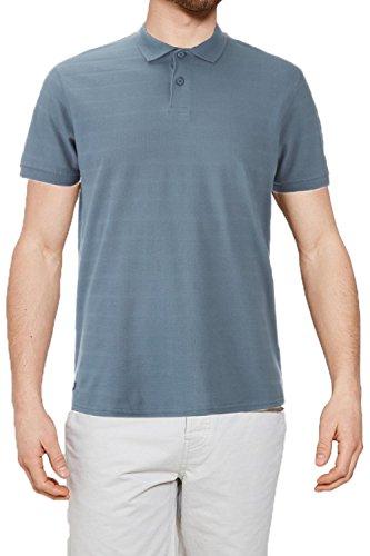 Threadbare Herren Blusen T-Shirt, Einfarbig weiß weiß Small Stockton - Denim Blue