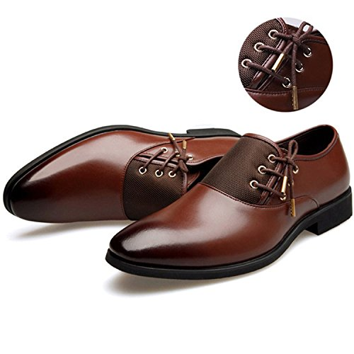 Men Formal Shoe Flats Oxford Shoes for Men Oxfords Pointed Toe Lace Up  Leather Dress Business 64d2543a88c