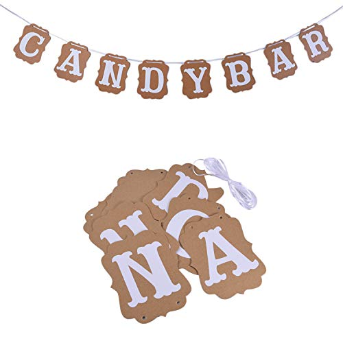 Ouinne Candy Bar Banderines de Escritura Cartel Hessian Pennant Triangle Burlap Banner...