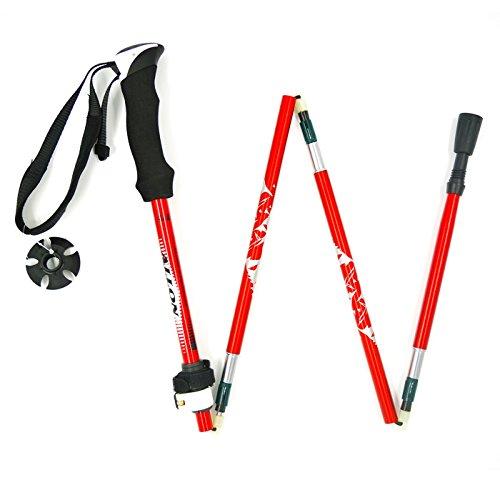 Allon Poids Léger Bâton de Randonnée, Alliage d'aluminium Pôle de Trekking, Pliable Bâton de Marche pour Femme, Escalade Bâton Longeur 110 à 135 cm, 1 Pièce